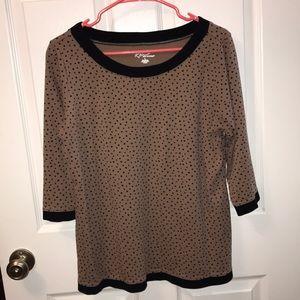 Tan and Black Quarter Length Sleeve Top